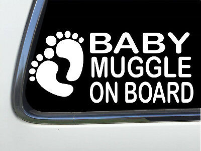"ThatLilCabin - Baby Muggle On Board with feet 6"" vinyl car sticker AS1568"