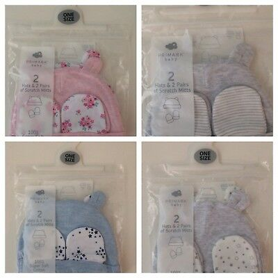 Primark 2 Pack Baby Hats With Ears And Scratch Mittens One Size 0-12 Months New