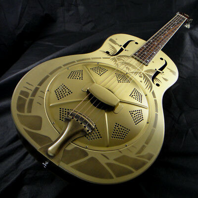 Duolian Resonator Guitar - 'Antique' Brass Body with Hawaiian Graphic