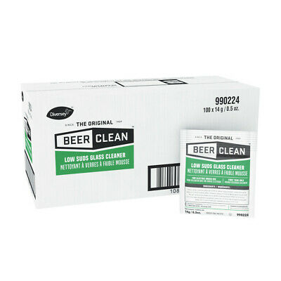Diversey Beer Clean Glass Cleaner, Powder, .5oz Packet, 100/Carton  990224 New