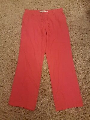 Ladies Womens Red Next Parallel Linen Blend Lightweight Trousers Size 10