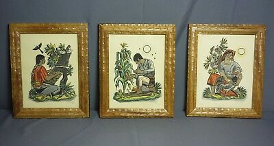 Set of 3 Dale Nichols Hand Painted Block Prints of Maya in Guatemala