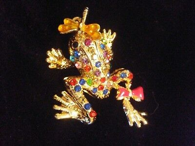 Gold-Tone Frog with colorful crystals and dragonfly on the nose necklace pendant