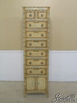 30116EC: Tall Decorator Paint Decorated Bamboo Motif Lingerie Chest