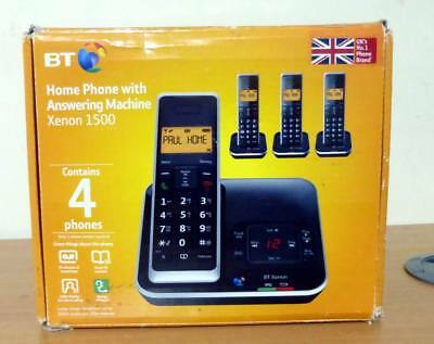 BT Xenon 1500 Cordless Telephone with Answering Machine, Quad DECT