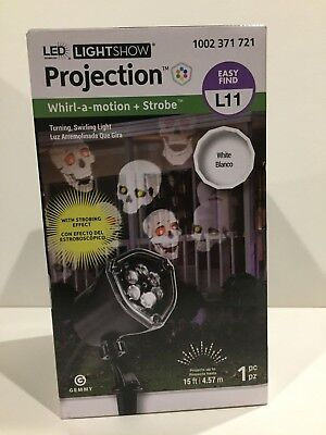 New! Halloween Skulls Led Light Show Projection Whirl-A-Motion + Strobe