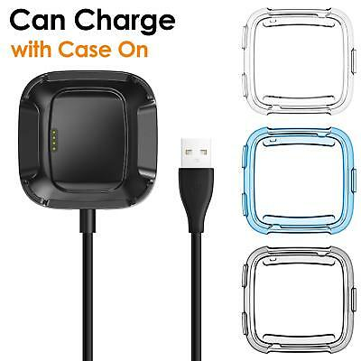 For Fitbit Versa USB Charging Cable Power Charger Dock Cradle Stand +Cover Case