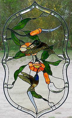 Leaded Glass Window Image Hummingbird Medallion with Real Antique in Tiffany