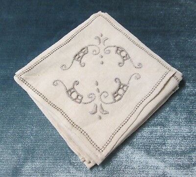 4 Ecru Linen Cocktail Napkins Embroidery & Cutwork Madeira? Never Used