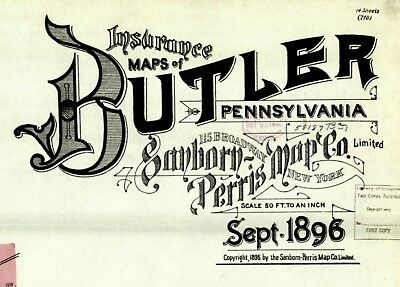 Butler, Pennsylvania~Sanborn Map© sheets~ 20 maps in color~made in 1886, 1896