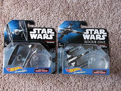 Lot (2) STAR WARS Hot Wheels Die-Cast STARSHIPS Partisan X-Wing,Tie Fighter NEW