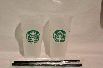 Starbucks Reusable Venti 24 oz. Frosted Ice Cold Drink Cup 2018 Lid Straws New