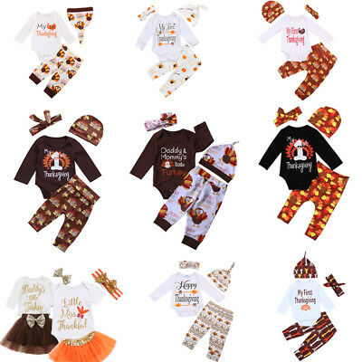 c6d0a5e9087f Thanksgiving Newborn Baby Boy Girl Tops Romper Pants Hat Outfits Set Clothes  US