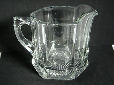 "Vintage Creamer Heavy Pressed Molded Glass 4.25"" H"
