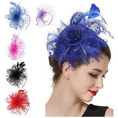 Wedding Bridal Mesh Feather Fascinator Hat Hairpin Ladies Tea Party Church Hat