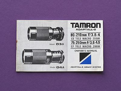 Vintage owner's manual for TAMRON Adaptall-2 lens 80-210mm & 75-250mm - booklet