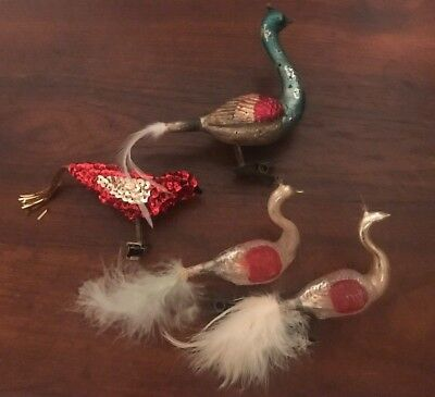 Lot of 4 Vintage Bird Clip On Christmas Tree Ornament Swan Peacock Sequence
