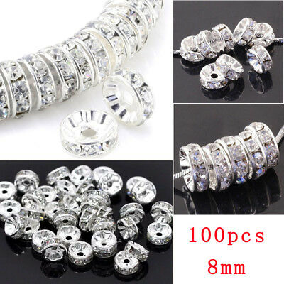 8mm 100pcs Czech Crystal Clear Rhinestone Rondelle Spacer Beads Loose Beads Cap