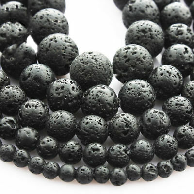 Hot Natural Nature Black Volcanic Lava Gemstone Charms Round Beads 4/6/8/10mm