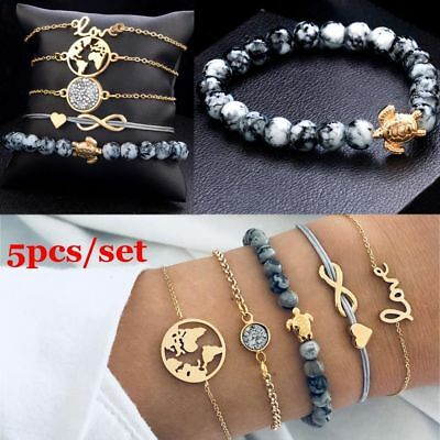 5Pcs/Set Turtle Map Heart Letter Love Bead Chain Multilayer Bracelet Set Jewelry