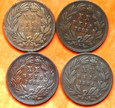 PORTUGAL LUIZ I, XX RIES Bronze from 1882..( 4 coins)F/VF