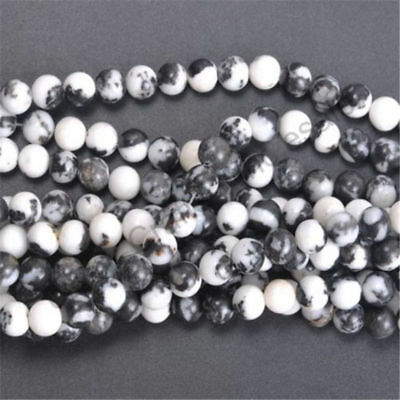 4 6 8 10MM Wholesale Natural Stone Black And White Zebra Round Spacer Loose Bead