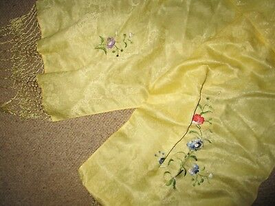 Vintage Chinese Embroidered Silk  Long Scarf  Good Condition