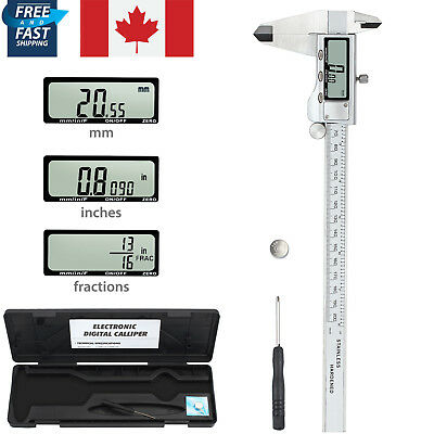"8"" Electronic LCD Digital Vernier Caliper Micrometer Gauge Tool Ranging 0-8"" Kit"