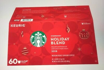 Starbucks Holiday Blend 2018 Ground Coffee ~ 60 K-CUP PODS