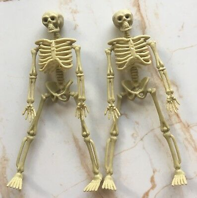 "Lot of 2 6"" Skeleton Skull Bones Figure Plastic Replica Model Halloween Deco Toy"