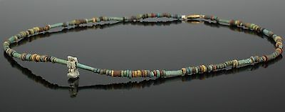 Beautiful Ancient Egyptian New Kingdom Faience Bead & Amulet Necklace (107)