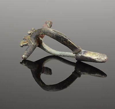 Ancient Roman Silver Gilt Fibula Brooch 2Nd Century Ad
