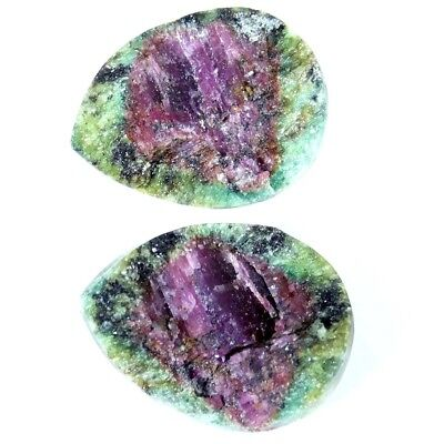 21.95Cts 100% Natural Designer Ruby In Zoisite Druzy Pear Pair Cabochon Gemstone