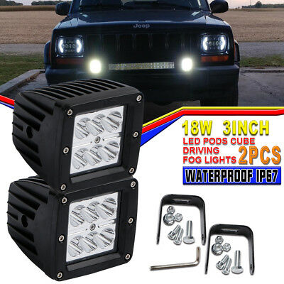 Pair 3x3In 18W Backup Reverse Front Bumper 18W Led Lights Pods Fog Lamp ATV Jeep