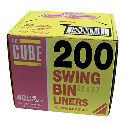 Le Cube Swing Bin Liners in Dispenser Box 46 Litre Capacity 1140x570mm Black Ref