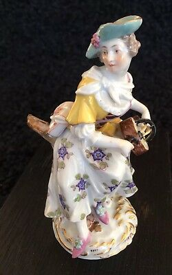 Antique Meissen Figurine Lady Playing Mandolin