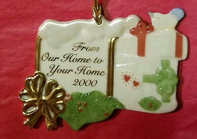 Lenox 2000 From Our Home To Your Home Fine China Christmas Ornament - No Box