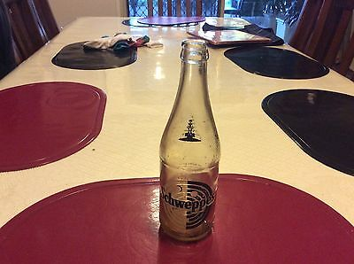 Old Vintage Schweppes Glass Bottle