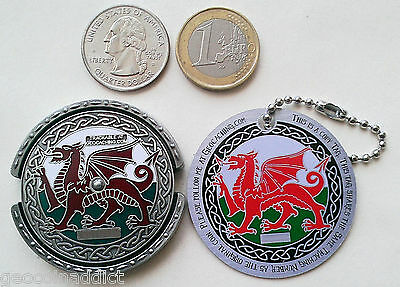 ☆☆ ROT13 Decoder Welsh Dragon Spinner Geocoin & tag Set Unactivated Trackable