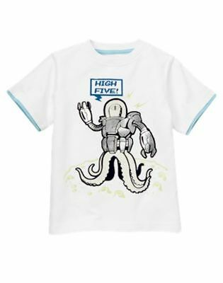 "Nwt Gymboree Space Voyager White Glow in the Dark Robot ""High Five"" Shirt Size 5"