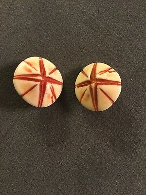 Vintage Cream & Rust Color Star Large Round Clip On Earrings (M)