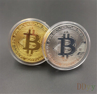 2Pcs Bitcoin Commemorative Round Collectors Coin Bit Coin is Gold Plated Coins