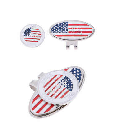 1 Pair Zinc Alloy Golf Hat Cap Visor Clip with Magnetic Ball Marker Gift