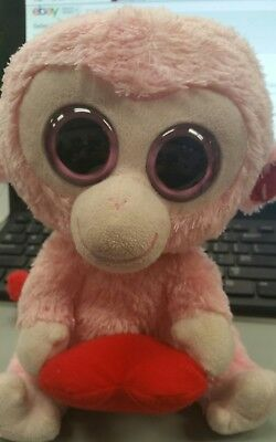 8048679b15b TY Beanie Boos 2 ea JULEP Pink Monkey w Heart 9 in and 6in no