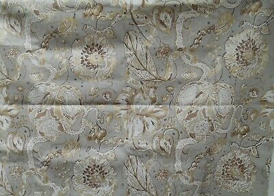 Light Weight Print Linen Floral Platinum Chocolate & Metallic Gold 2 Yards by 56