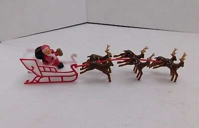 Vintage Miniature Christmas Santa Sleigh Reindeer Cake Top Decorations