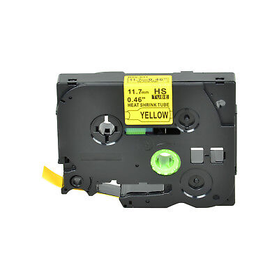 """1PK Heat Shrink Cartridge Label Black on Yellow HSe631 For Brother P-Touch 1/2"""""""