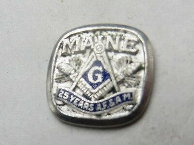 Vintage Maine 25 Year Masonic AF & AM Freemason Lapel Pin Screw On Back 12mm