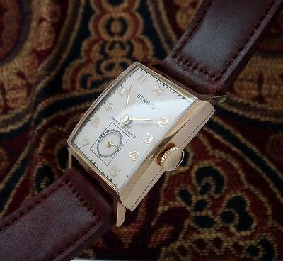 Vintage Antique Men's '40s Era 14k Rose Gold Benrus Wristwatch w/Box - SERVICED