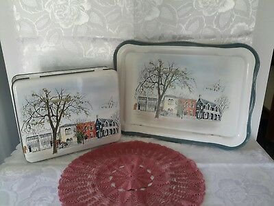 Vintage Willow Australia Breakfast Serving Tray with Legs & Matching Tin